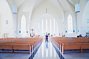 Interior of Queen of Peace Church, Mississauga, Ontario (Canada).
