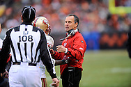San Francisco 49ers head coach Mike Nolan talks to officials during a loss to host Cleveland, Dec. 30, 2007..