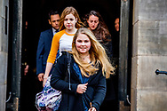 4-2-2018 AMSTERDAM - Departure of  Princess Amalia and princess Alexia  at the Royal Palace on Dam Square for the birthday reception of Princess Beatrix. The princess celebrates her 80th birthday in private. ROBIN UTRECHT