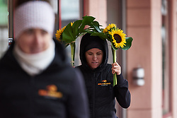 Karol-Ann Canuel (CAN) heads back to the team bus with her podium flowers at Postnord Vårgårda West Sweden Team Time Trial 2018, a 42.5 km team time trial in Vårgårda, Sweden on August 11, 2018. Photo by Sean Robinson/velofocus.com