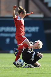 Bristol Academy's Hayley Ladd is tackled by FFC Frankfurt's Jessica Fishlock - Photo mandatory by-line: Dougie Allward/JMP - Mobile: 07966 386802 - 21/03/2015 - SPORT - Football - Bristol - Ashton Gate Stadium - Bristol Academy v FFC Frankfurt - UEFA Women's Champions League - Quarter Final - First Leg