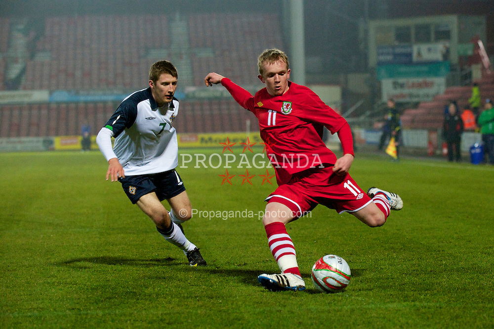 WREXHAM, WALES - Wednesday, February 9, 2011: Wales' Jonathan Williams in action against Northern Ireland during the Under-21 International Friendly match at the Racecourse Ground. (Photo by David Rawcliffe/Propaganda)