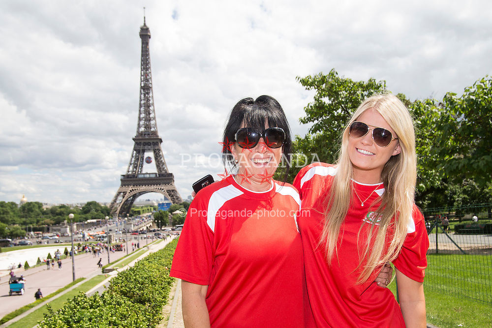 PARIS, FRANCE - Saturday, June 25, 2016: Wales supporters Tracey Roberts, left and Georgia Milton by the Eiffel Tower, Paris ahead of the match against Northern Ireland during the Round of 16 UEFA Euro 2016 Championship at the Parc des Princes. (Pic by Paul Greenwood/Propaganda)