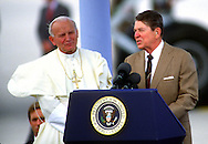 A 28. MG IMAGE OF:..Pope John Paul II iand President Ronald Reagan in Miami, Florida on September 10, 1987  Photo by Dennis Brack