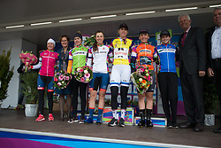 The jersey wearers gather on the podium after Stage 1a of the Healthy Ageing Tour - a 16.9 km time trial, starting and finishing in Leek on April 5, 2017, in Groeningen, Netherlands.