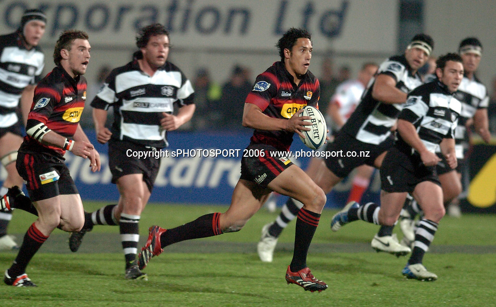 Canterbury's Stephen Brett on the charge during the Air New Zealand Cup week 1 rugby match between Hawke's Bay and Canterbury at Mclean Park, Napier on Friday 28 July 2006. Photo: John Cowpland/PHOTOSPORT<br /> <br /> <br /> <br /> <br /> <br /> 280706