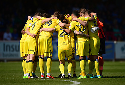 Bristol Rovers team huddle in prior to kick off. - Mandatory by-line: Alex James/JMP - 08/04/2017 - FOOTBALL - Cherry Red Records Stadium - Kingston upon Thames, England - AFC Wimbledon v Bristol Rovers - Sky Bet League One