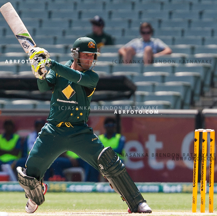 Phil Hughes plays a cut shot while batting during game 1 of the Commonwealth Bank Series Australia v Sri Lanka played at the Melbourne Cricket Ground in Melbourne,Victoria, Australia. Phil Hughes made 112 off 129 balls in his debut, the first Australian to make a ODI century on debut. Photo Asanka Brendon Ratnayake