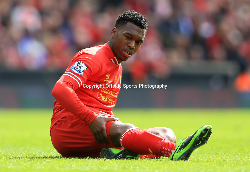 13th April 2014 - Barclays Premier League - Liverpool v Manchester City - Daniel Sturridge of Liverpool lies injured holding his hamstring - Photo: Simon Stacpoole / Offside.