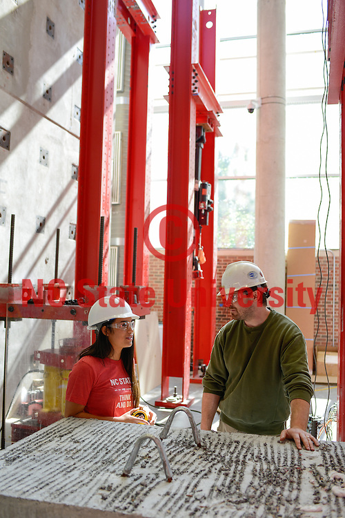 An undergraduate student works in the constructed facilities lab on campus. Photo by Marc Hall