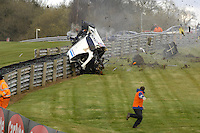 2008 British GT Championship.  Oulton Park, 22nd and 24th March 2008.  Hunter Abbott crash, Ginetta G50.  World Copyright: Peter Taylor/PSP.  Copy of publication required for printed pictures. Every used picture is fee-liable.