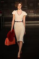 Tilda Lindstam walks down runway for F2012 L'Wren Scott's collection in Mercedes Benz fashion week in New York on Feb 10, 2012 NYC