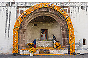 A altar for Day of the Dead at the Franciscan Convent and San Francisco church in Tzintzuntzan, Michoacan, Mexico.