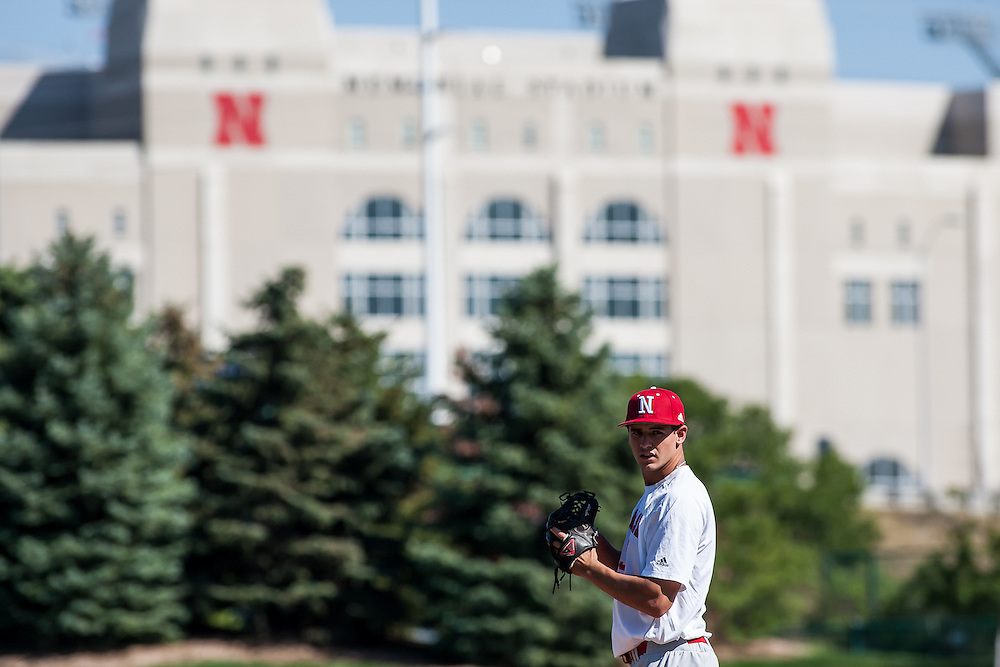 September 04, 2012: Pitcher Christian DeLeon on the mound during fall baseball practice. Photo by John S. Peterson.