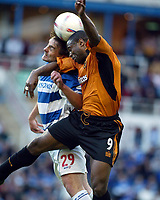 Photograph: Scott Heavey<br />Reading V Wolverhampton Wanderers. 14/05/2003.<br />Steve Brown and Nathan Blake contest for the ball in the air during this Natinwide Division one playoff Semi-final, second leg match at the Madjeski Stadium.