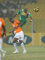 Photo: Steve Bond/Richard Lane Photography.<br />Ivory Coast v Mali. Africa Cup of Nations. 29/01/2008. Mohamed Sissoko (upper) gets the better of Boubacar Sanogo (lower)