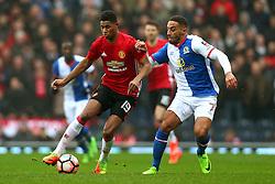 Marcus Rashford of Manchester United takes on Liam Feeney of Blackburn Rovers - Mandatory by-line: Matt McNulty/JMP - 19/02/2017 - FOOTBALL - Ewood Park - Blackburn, England - Blackburn Rovers v Manchester United - Emirates FA Cup fifth round