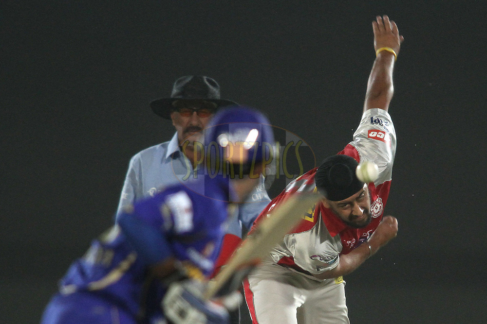 Harmeet Singh of the Kings XI Punjab sends down a delivery to Ajinkya Rahane of the Rajasthan Royals during match 4 of the the Indian Premier League ( IPL) 2012  between The Rajasthan Royals and the Kings X1 Punjab held at the Sawai Mansingh Stadium in Jaipur on the 6th April 2012..Photo by Shaun Roy/IPL/SPORTZPICS