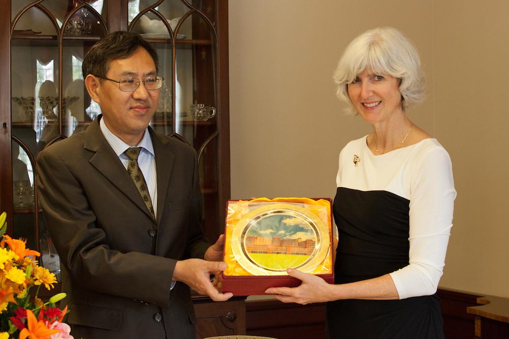 Dr. Lorna Jean Edmonds at a signing of a Memorandum of Understanding between Beijing International Studies University and Ohio University at Baker Center on October 15, 2013. Photo by Stephen Reiss.