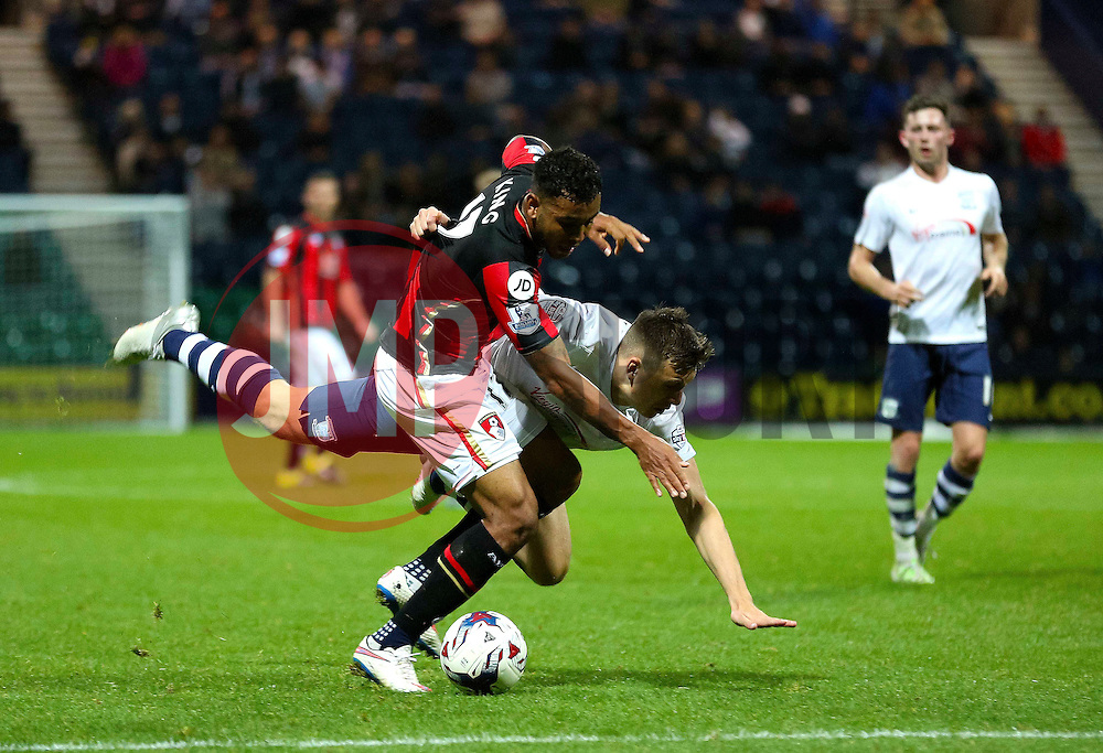 Josh King of Bournemouth is fouled - Mandatory byline: Matt McNulty/JMP - 07966386802 - 22/09/2015 - FOOTBALL - Deepdale Stadium -Preston,England - Preston North End v Bournemouth - Capital One Cup - Third Round