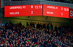 LIVERPOOL, ENGLAND - Saturday, January 28, 2017: Liverpool's scoreboard shows Wolverhampton Wanderers taking a two-goal lead at half-time during the FA Cup 4th Round match at Anfield. (Pic by David Rawcliffe/Propaganda)