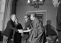 Dalai Lama and his desciples at Aras an Uachtarain greeting President Erskine Childers, 10/10/1973 (Part of the Independent Newspapers Ireland/NLI Collection).