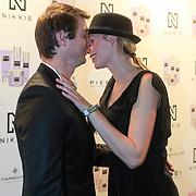 NLD/Amsterdam/20130205 - Modeshow Nikki Plessen 2013, Nicolette Kluijver en partner Joost Staudt