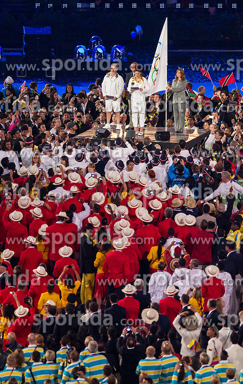 27.07.2012, Olympia Park, London, GBR, Olympia 2012, Eroeffungsfeier, im Bild Olympische Eid // Olympic oath during opening ceremony at the 2012 Summer Olympics at Olympic Park London, United Kingdom on 2012/07/27. EXPA Pictures © 2012, PhotoCredit: EXPA/ Johann Groder