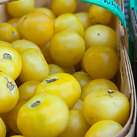 A basket of 'Super Snow White' heirloom tomatoes