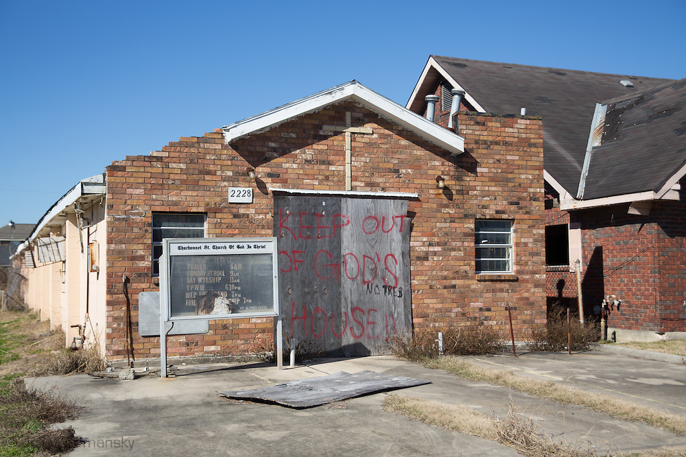New Orleans, LA, January 20, Blighted church in New Orleans lower 9th ward.Nine years after hurricane Katrina parts of the city have still not recovered.