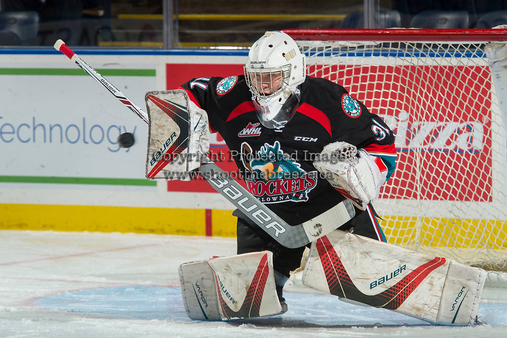 KELOWNA, CANADA - SEPTEMBER 22: Brodan Salmond #31 of the Kelowna Rockets warm up in net against the Kamloops Blazers on September 22, 2017 at Prospera Place in Kelowna, British Columbia, Canada.  (Photo by Marissa Baecker/Shoot the Breeze)  *** Local Caption ***
