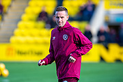 Steven MacLean (#18) of Heart of Midlothian FC warms up before the Ladbrokes Scottish Premiership match between Livingston FC and Heart of Midlothian at the Tony Macaroni Arena, Livingston, Scotland on 26 October 2019.