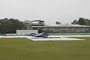 Wet scene at Grace Road for Day 3 of the Specsavers County Champ Div 2 match between Leicestershire County Cricket Club and Middlesex County Cricket Club at the Fischer County Ground, Grace Road, Leicester, United Kingdom on 12 June 2019.