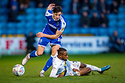 Gillingham FC defender Alfie Jones  (14) and Oxford United forward Tariqe Fosu-Henry (11) during the EFL Sky Bet League 1 match between Gillingham and Oxford United at the MEMS Priestfield Stadium, Gillingham, England on 18 January 2020.