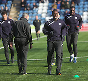 Dundee fitness and conditioning coach Tom Ritchie puts new boy Sean Bonnett-Johnson through his paces - Queen of South v Dundee, SPFL Championship at Palmerston Park <br />
