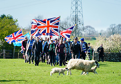 March 27, 2019 - England, United Kingdom - The 'March to Leave' walks through a field in the County of Rutland. The Pro-Brexit protest march goes from Sunderland, in northeast England, to London, where they will arrive 29 March. (Credit Image: © Peter Van Den Berg/Aftonbladet/IBL via ZUMA Wire)