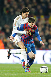 25.01.2012, Stadion Camp Nou, Barcelona, ESP, Copa del Rey, FC Barcelona vs Real Madrid, im Bild Barcelona's Lionel Messi and Real Madrid's Ricardo Kaka // during the football match of spanish Copy del Rey, between FC Barcelona and Real Madrid at Camp Nou stadium, Barcelona, Spain on 2012/01/25. EXPA Pictures © 2012, PhotoCredit: EXPA/ Alterphotos/ Cesar Cebolla..***** ATTENTION - OUT OF ESP and SUI *****