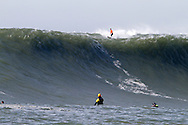 Chris Bertish on the lip of a giant wave at the 2010 Mavericks Surf Contest held Saturday February 13, 2010 in Half Moon Bay, California