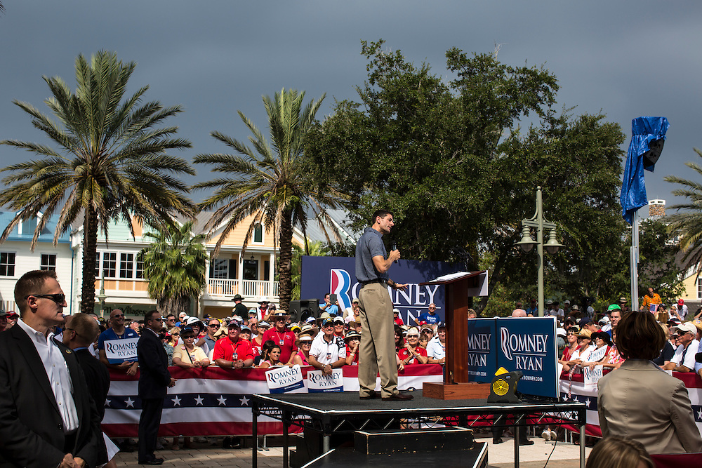 Republican Vice Presidential candidate Paul Ryan (R-WI) speaks at a campaign rally on Saturday, August 18, 2012 in The Villages, FL.