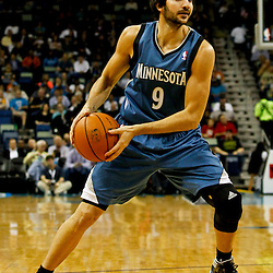 Jan 11, 2013; New Orleans, LA, USA; Minnesota Timberwolves point guard Ricky Rubio (9) against the New Orleans Hornets during the first quarter of a game at the New Orleans Arena. Mandatory Credit: Derick E. Hingle-USA TODAY Sports