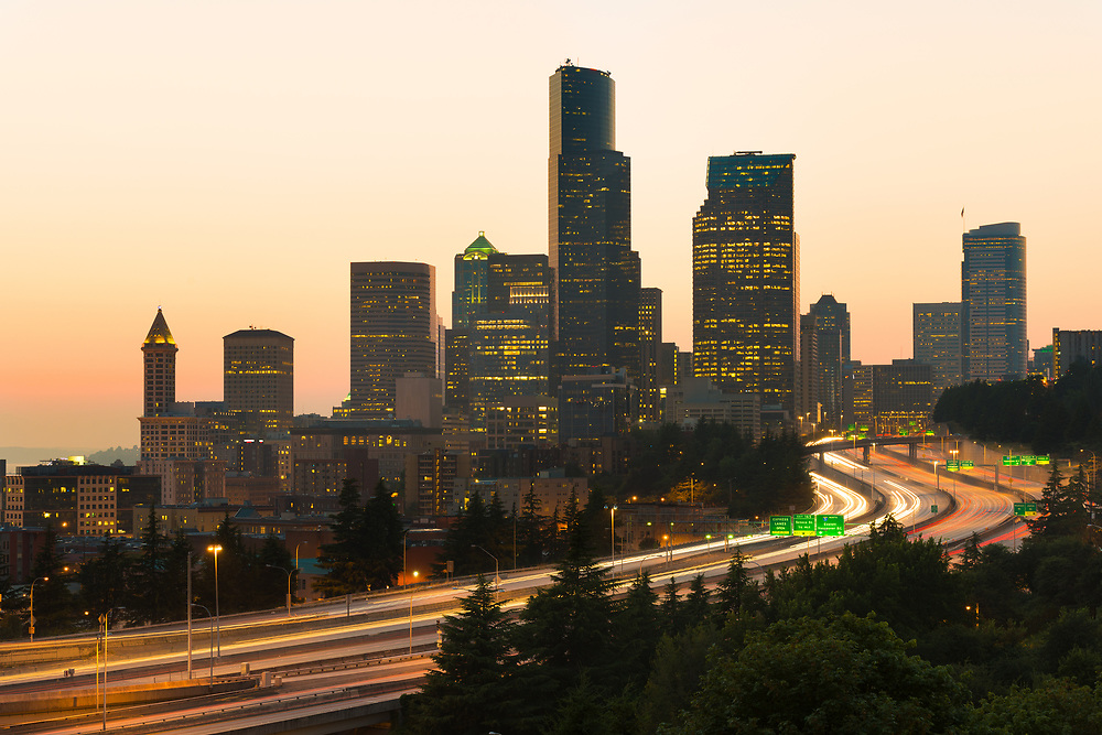 Interstate 5 and downtown skyline of Seattle, Washington State, USA
