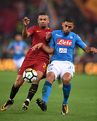 ROMA, Oct. 15, 2017  Roma's Bruno Reres (L) vies with Napoli's Faouzi Ghoulam during a Serie A soccer match between Roma and Napoli in Rome, Italy, Oct. 14, 2017. Napoli won 1-0. hcs) (Credit Image: © Alberto Lingria/Xinhua via ZUMA Wire)
