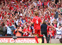 CARDIFF, WALES - SUNDAY, AUGUST 13th, 2006: Liverpool's John Arne Riise celebrates scoring the opening goal against Chelsea during the Community Shield match at the Millennium Stadium. (Pic by David Rawcliffe/Propaganda)