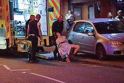 MANCHESTER 19.09.2017 A person is taken to an ambulance  looking worse of wear<br /> <br /> Freshers week continues in Manchester which has seen 1000s of students out drinking every night since Sunday.