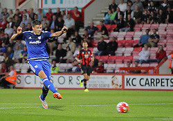 Alex Revell of Cardiff City scores his sides 3rd goal - Mandatory by-line: Paul Terry/JMP - 07966386802 - 31/07/2015 - SPORT - FOOTBALL - Bournemouth,England - Dean Court - AFC Bournemouth v Cardiff City - Pre-Season Friendly
