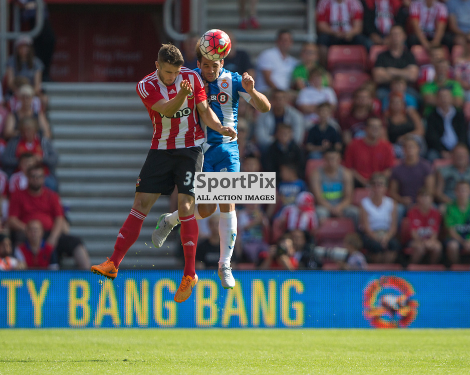 Sam McQueen challenging in the air<br /> <br /> Southampton F.C. Vs Espanyol, Pre Season Friendly, 2nd August 2015