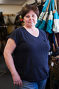 DEXTER, ME - AUGUST 4, 2015:  Sue Nordman, owner of Erda Handbags, at the company's production facility in Dexter, Maine. Since most of Erda's employees are 60 years or older they have implemented a flexible scheduling system and invested in more ergonomic machines to accommodate their aging workforce. <br /> Craig Dilger for The New York Times