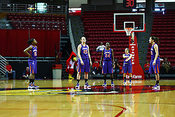 01 January 2012: Purple Aces starting five: Briyana Blair, Smaantha Heck, Taylor Ware, Staci Gillum and Meagan Collins during an NCAA women's basketball game between the Evansville Purple Aces and the Illinois Sate Redbirds at Redbird Arena in Normal IL