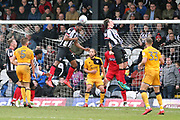 Grimsby Town defence hold firm as Port Vale defender Kyle Howkins (33) and Port Vale defender Joe Davis (5) look on during the EFL Sky Bet League 2 match between Grimsby Town FC and Port Vale at Blundell Park, Grimsby, United Kingdom on 10 March 2018. Picture by Mick Atkins.