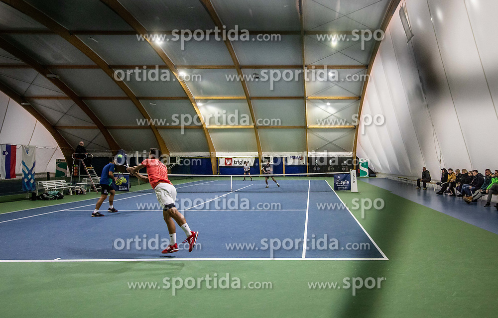 Aljaz Jakob Kaplja and Bor Muzar Schweiger playing final match against Toni Hazdovac and Sven Lah during Slovenian men's doubles tennis Championship 2019, on December 29, 2019 in Medvode, Slovenia. Photo by Vid Ponikvar/ Sportida